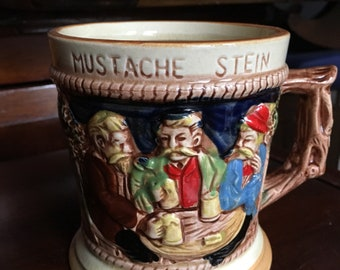 Mustache stein Japanese country scene  Vintage Mug and Coaster