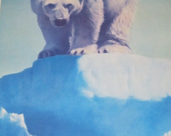 "Fred Machetanz ""Face to Face"" Limited Edition Alaskan Künstler Lithographie / Eisbär Kunst"