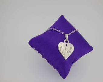"sterling silver necklace ""I love you"""