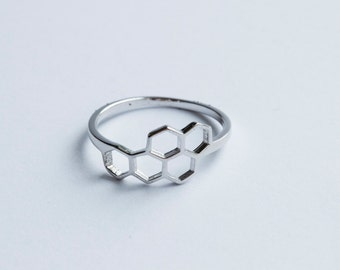 Super Cute Bee Honeycomb Ring - Sterling Silver