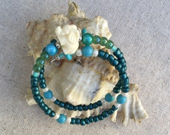 Childs Elephant Bracelet / Turquoise and Bone Elephant Bracelet / Unisex Child Elephant Turquoise Bracelet