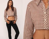 Cropped Shirt Brown GINGHAM Top Checkered Blouse 70s Button Up Shirt CROP Top Western 1970s Hipster Vintage Long Sleeve Small Medium