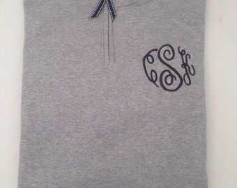 Custom Monogrammed Quarter Zip Sweat Shirt with Coordinating Ribbon Zipper Pull