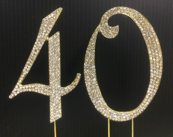 Rhinestone Gold  NUMBER (40) Cake Topper 40th  Birthday Parties FREE SHIPPING