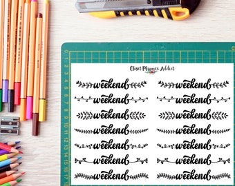 Weekend Planner Stickers   Floral Frame Stickers   Brush Script Stickers   Weekend Buntings   Black and White   Monochrome (FP-011)