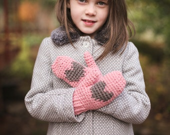 Heart Mittens Crochet PATTERN for Kids and Adults, Valentine's Day Crafts, DIY Mittens, Valentines Gifts for Kids
