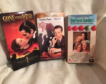 Lot 3 Classic Movies VHS Tapes Maltese Falcon Gone w t Wind Fried Green Tomatoes