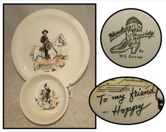 Vintage Ceramic Childs Plate & Bowl Set with Hopalong Cassidy and his horse Hoppy