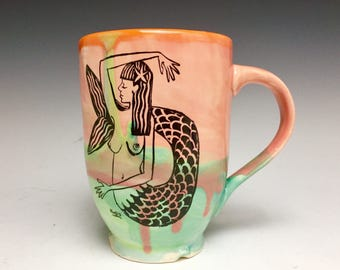 Hand Thrown Mug: Key West Mermaid At Sunset