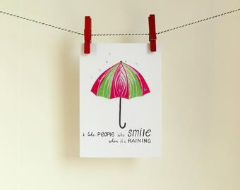 Postcard Umbrella - Card Quote - A6 Postcard - Blank Card - Card Recycled Paper.