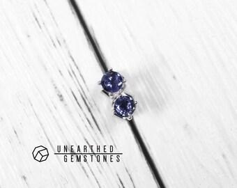 Natural Iolite Earrings - Blue Gemstone Earrings, Sterling Silver Earrings, Stud Earrings, Tiny Earrings, Iolite Jewelry, Delicate Earrings