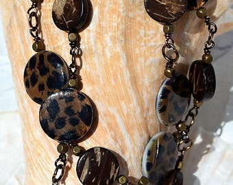Wire Wrapped, Antique Brass, Necklace, Animal Print and Wood, Disc Beads, Wood Beads, beaded bracelet