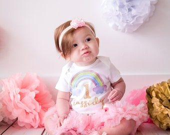 Baby Girls first birthday outfit Rainbow | 1st Birthday Girl Outfit Rainbow | First Birthday Outfit Girl Pink | Personalized Outfit Girl
