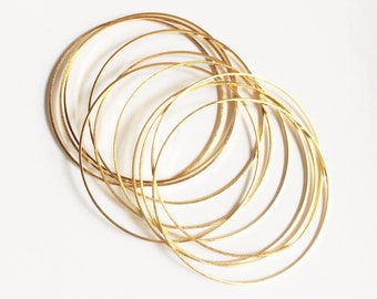 Bulk 100 pcs of Gold plated brass round connector rings 30mm