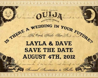 Vintage Sepia Ouija Board Printable Save The Date Cards - Digital Download - Bohemian Gypsy Halloween Wedding - Personalized