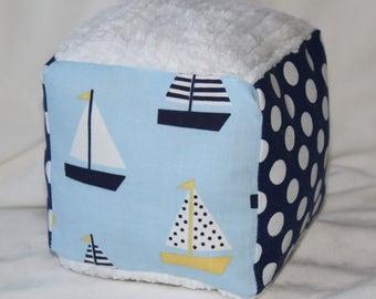 Sailboats Fabric Chenille Block Rattle