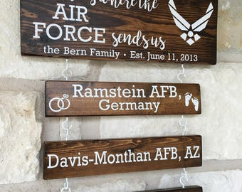 Home is where the army sends us, Duty station sign, military wood sign, Army, Navy, Air Force, Marines, Coast Guard, home is where,