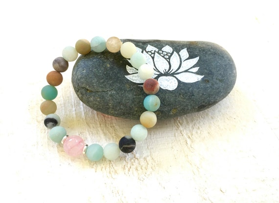 Amazonite and Rose Quartz Mala Inspired Bracelet, Yoga Style Bracelet, Natural Healing Jewelry, Boho Style Bracelet, Casual Stretch Bracelet