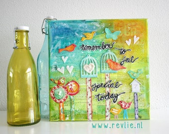 ON SALE Online Class: how to create a lovely mixed media canvas - REV it up- in English & Dutch