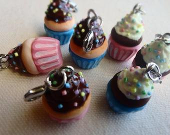 Handmade Polymer Clay Cupcake Keychain - Pink and Blue