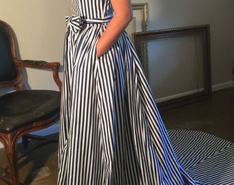 Something Blue, navy and white cotton striped nautical wedding gown full train, ball gown, beach bride, nautical bride, navy bride