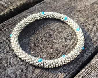 Bracelets Silver Permanent Finish Hand Made Beaded Bangle Bracelet with Swarovski Crystals Handmade Gift