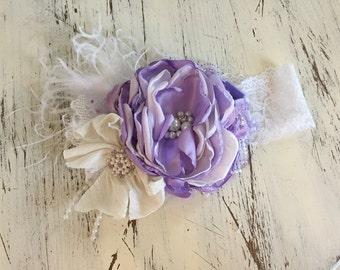 Purple Baby Girl Headband- Baby Headbands- Matilda Jane Headband- Giggle Moon Headband-Avry Couture-   flower Headband- Boho Headband