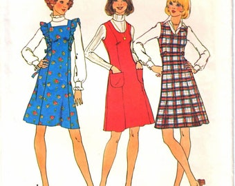 Simplicity 7058 Woman Princess Seam Jumper,Square Neck, V-Neck, Round Neck, Ruffle Front Jumper Sewing Pattern Size 14 Vintage 1970's UNCUT