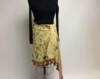 Handmade Asymmetrical Floral Skirt Vintage Fabric L