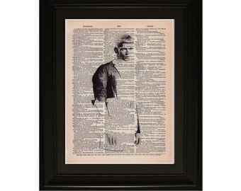 "Onyx"".Dictionary Art Print. Vintage Upcycled Antique Book Page. Fits 8""x10"" frame"