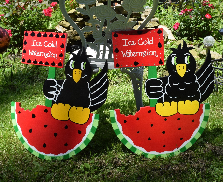 Watermelon and Blackbird Yard Art Crow Garden Stake Summer