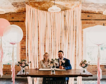 Wedding Backdrop,  Wedding Garland, Ceremony Backdrop, Room Divider, Wedding Decoration, Rustic Wedding,  Fringe Garland, Blush.