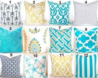 TURQUOISE PILLOWS Aqua Blue Throw Pillows Turquoise Pillow Covers Blue Yellow Pillows Gold Pillow Ticking Stripe BEACH 16 18x18 20 All Sizes