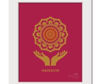 ART PRINT Golden Namaste Mandala - yoga art print, inspirational art, spiritual art, namaste, indian art, printable art, bohemian art print