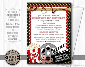 Movie Party Customized Printable Invitation