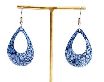 Blue Denim Earrings, Blue Earrings, Teardrop Earrings, Drop Earrings, Denim Earrings, Silver Earrings