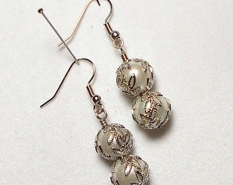 Silver Pearl With Silver Filigree Leaf Cap Wedding Party Drop Earring