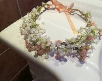Beautiful handmade delicate white and pink gypsophelia wedding crown