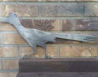 Roadrunner yard sign silhouette in steel