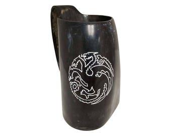 House Targaryen Sigil Hand Engraved Game of Thrones Drinking Horn Tankard