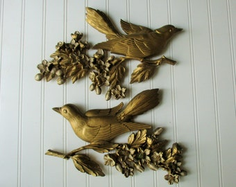 Pair bird plaques Dart Industries 1960s birds and flowering branches Gold plastic BoHo wall hanging decor