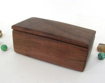 Black Walnut Wooden Box, pet urn, cremation urn, guitar pick holder, cuff links box, groom gift, wood jewelry box, gratitude box, watch box