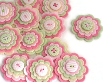 ROSE PETAL Handmade Felt Flower Embellishments, Felt Flower Appliques, Felt Scallops, Scrapbook Flowers, Wedding Flowers - Set of 3
