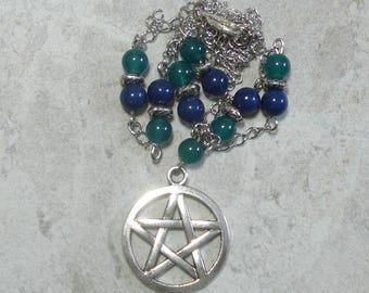 Pentagram Necklace Green Beryl And Lapis Lazuli