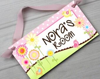 Sweet Meadow Birdies and Flowers Girls Bedroom Baby Nursery Kids Bedroom DOOR SIGN Wall Art DS0026