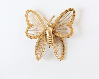 Vintage Monet Goldtone Butterfly Brooch
