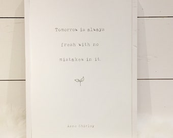 Tomorrow Is Always Fresh - Wooden Sign - Anne of Green Gables - Anne Shirley