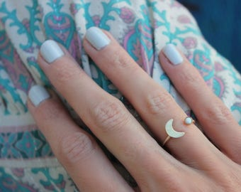 Gold opal moon stacking ring -skinny gold moon ring, gold opal ring, 14k gold filled ring