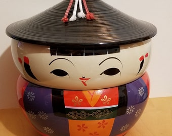 Kokeshi Bento Boxes (Vintage Used in Great Condition): Complete and Partial set [ON SALE!]