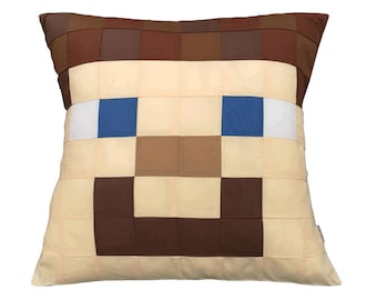 Steve Minecraft Cushion Cover with inner included - A Well Loved Brown Haired Character